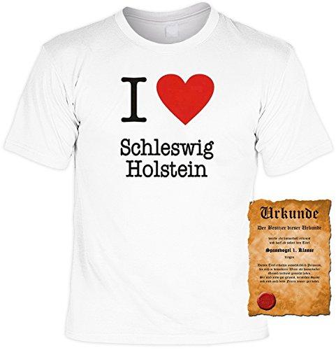 Witziges Spaß-Shirt + gratis Fun-Urkunde: I love Schleswig Holstein Weiß