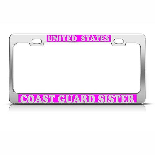 Irish Chrome License Plate Frame (Moon US Coast Guard Sister Heavy Duty Chrome Kennzeichenrahmen Tag Pink & Silber Perfekt für Herren Damen Auto Garadge Decor)