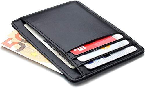 Frentree Sehr Flache Geldbörse 100% Echtleder Kartenetui mit 8 Fächern, RFID Schutz und Schnellzugriff-Fach, Schwarz -