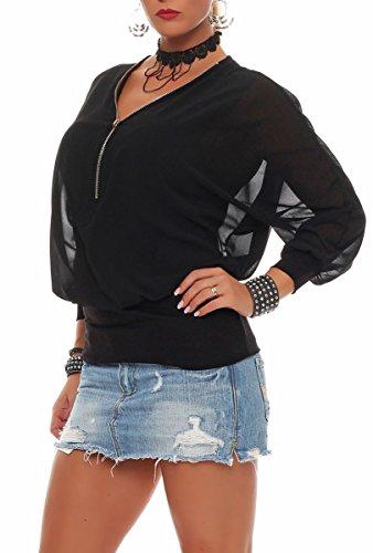 Malito Damen Bluse IM Fledermaus Look | Tunika mit Zipper | Kurzarm Blusenshirt mit Breitem Bund | Elegant