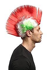 Idea Regalo - WIG ME UP ® - Parrucca Carnevale Taglio Mohawk/Irochese,Punk Colore Verde-Bianco-Rosso Italia XR-012-PC13/P68/PC15