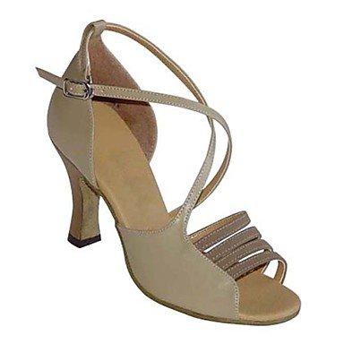 XIAMUO Nicht anpassbare Damen Tanzschuhe Latein/Swing/Salsa/Samba Satin/Kunstleder Chunky HeelBlack/Braun/Rot/Weiß Silber