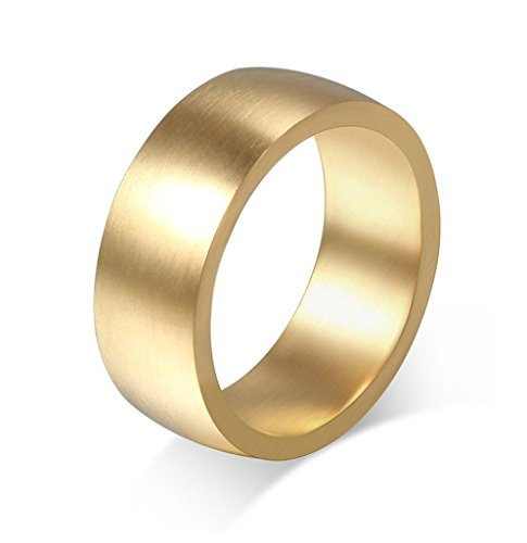 Edelstahl Ringe, Damen Jahrgang Bürste Cambe Oberfläche 8MM Breite Gr.60 (19.1) Gold ()