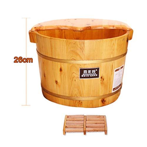 WEIFAN-Tub Foot wash tub Holzfußbad Pediküre Fußbadfaß mit Deckel Fußbad Haushalt/Verdickter Einzelfass + Deckel + Massagegerät + Badepulver * 2 / 26Cm