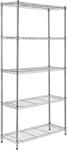 AmazonBasics Lagerregal mit 5 Regalböden, bis 160 kg pro Regalboden, Chrom - Keller-storage-shelf