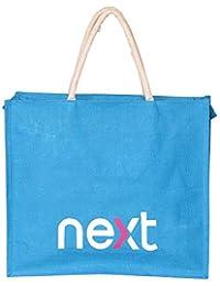 WCI Premium Luxury Heavy Duty Aqua Blue Multi Purpose Pure Jute Shopping Bag, Extra Large Size