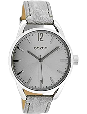 Oozoo Damenuhr mit Lederband 40 MM Silbergrau/Grau Snake C8335