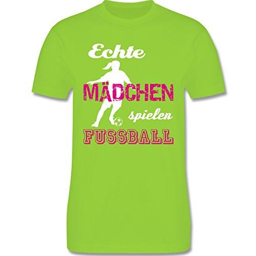 Fußball - Echte Mädchen spielen Fußball weiß - Herren Premium T-Shirt Hellgrün