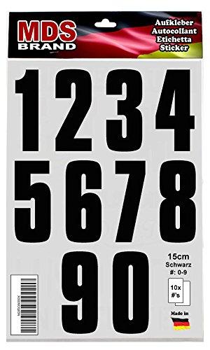 Preisvergleich Produktbild 15cm Zahlen Aufkleber Klebeziffer Selbstklebend Satz 0-9 Schwarz auch Nummer Etiketten