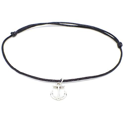SelfmadeJewelry Anker Fußkettchen Silber - Schwarzes Satinband mit silberfarbenem Anker Anhänger - Handmade