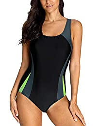 f9c9c2b8c9a CharmLeaks Ladies Racerback One Piece Swimming Costume Athletic Padded  Swimsuits