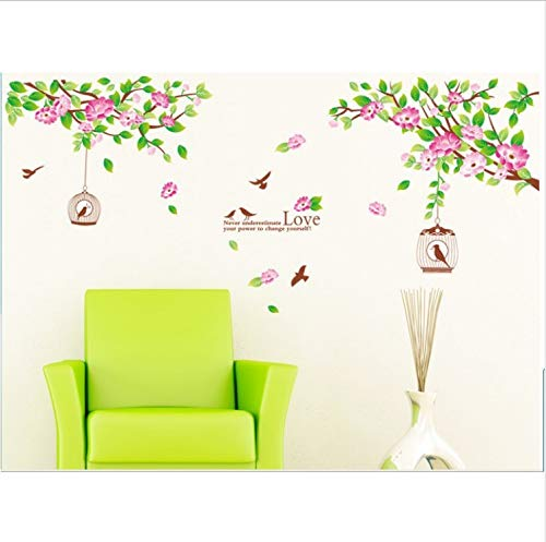 saqwq Wall Sticker Art Mural Hibiscus Birds Home Decor Removable Vinyl Decals - Hibiscus Home Decor