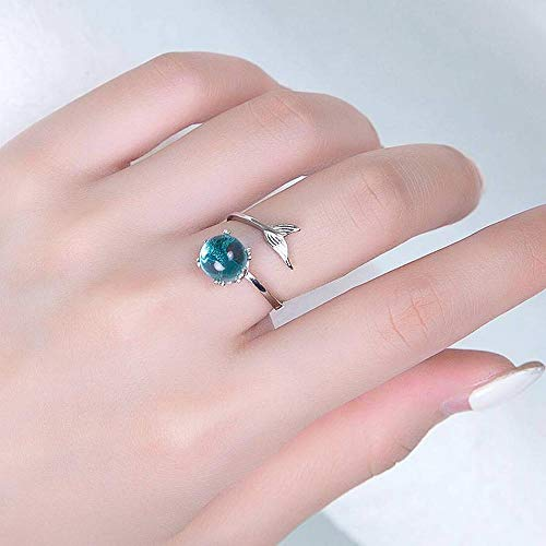 (Thumby S925 Sterling Silber Fisch Träne Schwanz Blaue Blase Ring Kleinen Frischen Studentenöffnung Ring, Tablett, 925er Sterling Silber)