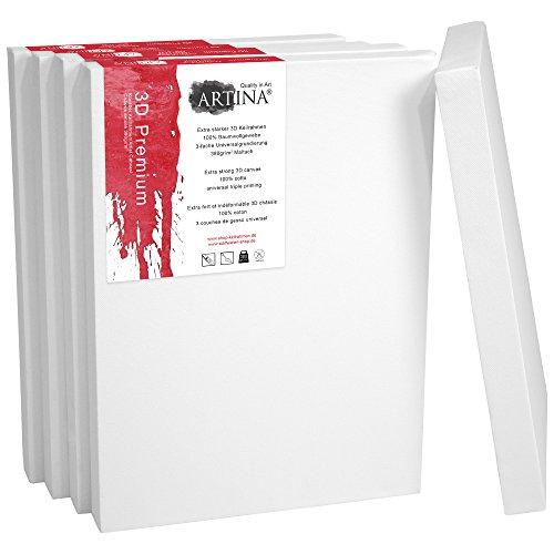 Artina Set de 5 lienzos Blancos de 100% algodón con bastidores robustos -...