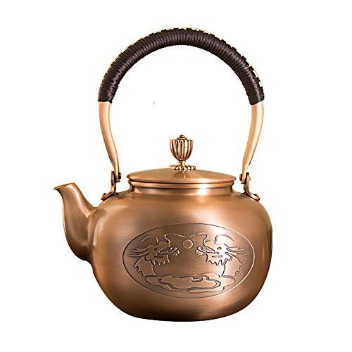 Mfun-CH Kupfer Teekanne Reine Handwerkskunst Kupfer Alt Kupfer Topf Tee Mit Gekochtem Wasser Plus Suppe, Für Loose Leaf Tee Und Blooming Tee, 1.4 L