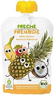 FRECHE FREUNDE Bio Quetschie Apfel, Banane, Ananas & Kokosnuss, Fruchtmus im Quetschbeutel für Babys ab de