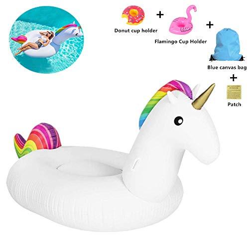 SanXingRui Unicornio Hinchable Flotante Gigante del Unicornio Piscina Cama Flotante Unicorn Kids, la Fiesta Piscina de Playa de Verano Adultos y Niños Utilización (Blanco)