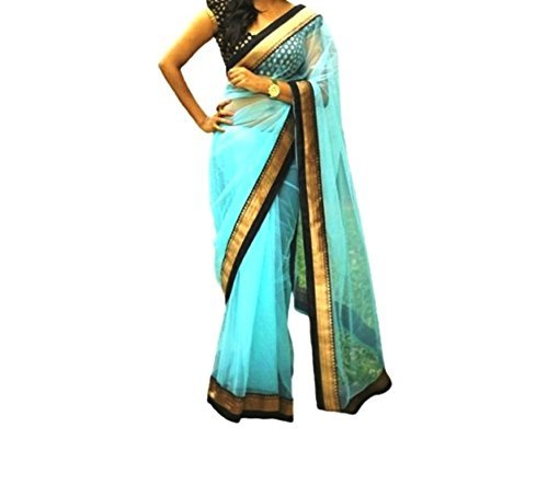Zareen nx Women\'s Sky Blue Color Net Saree with Blouse ( ZNX002 )