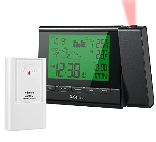 X-Sense Stazione Meteo Meteorologiche senza fili Wireless con Display LED & Proiezione Retroilluminato Illuminazione con -40,0 °C a 70,0 °C (AG-22P)