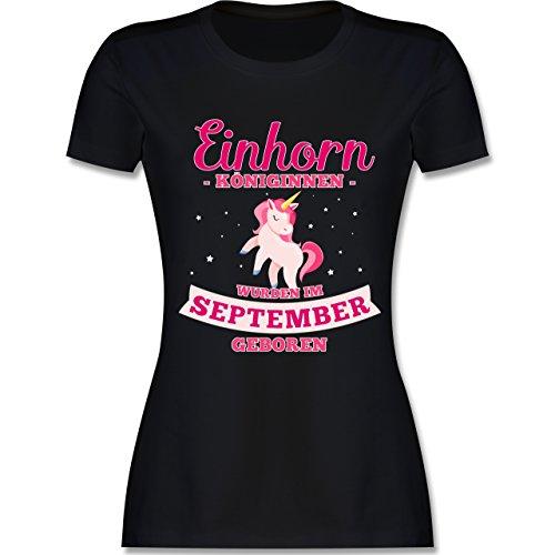 Geburtstag - Einhorn Königinnen Wurden IM September Geboren - Damen T-Shirt Rundhals Schwarz