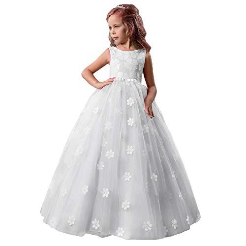 dbb39eb11050 OBEEII Vestito Principessa per Ragazza Pizzo Abiti da Sera Matrimonio  Damigella d Onore Tulle Maniche