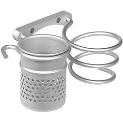 Japace® Montaggio a Parete Asciugacapelli Appeso Organizzatore Cremagliera, Titolare Asciugacapelli Alluminio con Tazze