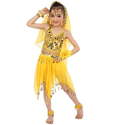 Magogo Bauchtanz Kostüm Mädchen Glänzende Party Kostüm Karneval Outfit, Kinder Arabische Prinzessin Kleidung Cosplay Dancewear ()
