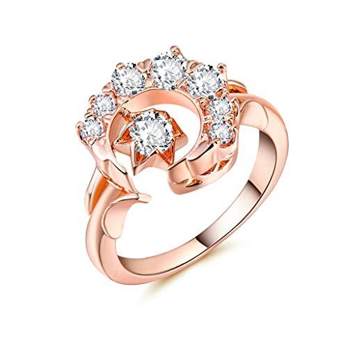 Diadia ❤️ Rotgold Mond Sterne Diamanten Ringe für Männer Frauen Biker Schmuck Cool Luxus Noble Damen Ring Schmuck, rose gold, - 1980's Kostüm Schmuck
