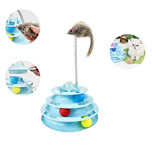 WTTTTW Katzenspielzeug Roller, Katzenspielzeug 3/4 Level Towers Track Roller mit Buntem Ball, interaktives lustiges Denkspielzeug für körperliche Übungen,Blue,Fourfloors