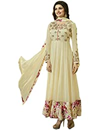 VIHA Women's Georgette Dress Material (PR_08_Free Size_Off-White)