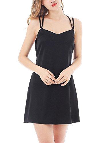 Yulee Donna Chemises Raso Camicia da notte Camiciola Sottoveste Black