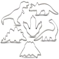 KENIAO Dinosaur Cookie Cutter Set for Kids - 6 Piece - T-Rex, Brontosaurus, Triceratops, Stegosaurus, Dinosaur Foot and Volcano Biscuit Fondant Cutters - Stainless Steel