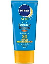 NIVEA SUN Gesichts-Sonnencreme mit Bräunungs-Aktivierung, Lichtschutzfaktor 30, 50 ml Tube, Schutz & Bräune