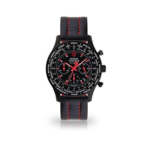DETOMASO Firenze Herren-Armbanduhr Chronograph Analog Quarz schwarzes Lederarmband schwarzes Zifferblatt DT1070-D-879