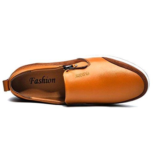 ZXCV Chaussures de plein air Stealth à l'intérieur de l'augmentation des chaussures hommes d'affaires zipper chaussures décontractées chaussures respirantes de mode ( Couleur : Bleu , taille : 43 ) Marron clair