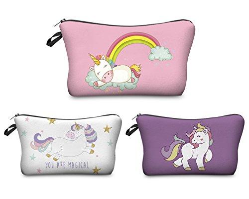 Kfnire 3pcs Unicornio bolsa de maquillaje lápiz bolso impermeable bolsa de viaje cosmético organizador (B)