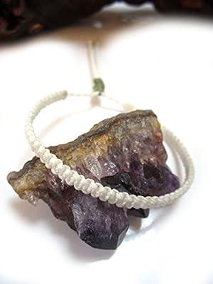 Bracelet brésilien/amitié/surf/unisexe/tissage plat en fil Blanc tissé main en macramé avec du fil ciré Réf.PPnatural