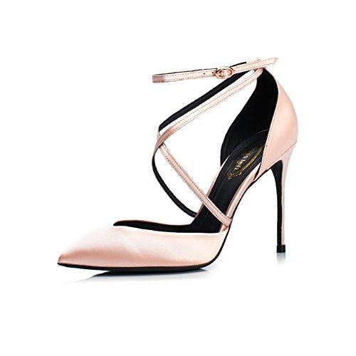 YIXINY Escarpin Sandales 358-5RD Soie + PU Bandage Croisé Mince Talon Creux Simple Chaussures 10 Cm Haute Talons Champagne Couleur