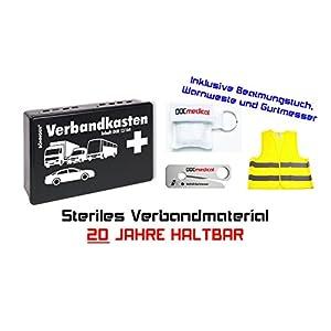 KFZ Verbandkasten (20 Jahre haltbar) + Gurtmesser + Beatmungstuch + Warnweste