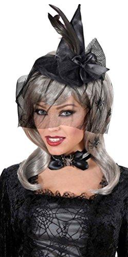 Karneval Klamotten' Hexenhut Damen Hut Hexe Mini mit Feder und Schleier Erwachsene Hut Halloween (Hexen Hut Mini)