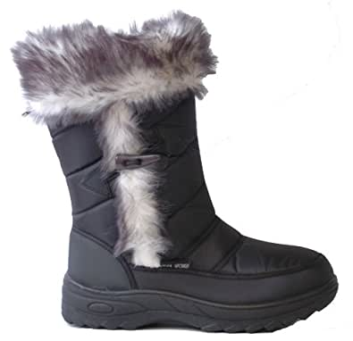 Ladies Zip Up Winter Snow Boots Black Size UK 3 EU 36