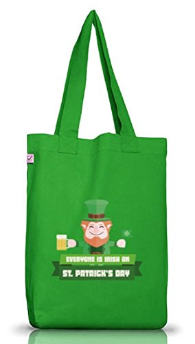 Saint Patrick's Day St. Patricks Day Jutebeutel Stoffbeutel Earth Positive mit Everyone Is Irish... Kelly Green