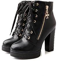 Best 4U® Zapatos de mujer Otoño PU Martin Boots Round-toe Shoes Shoes Zipper 11cm High Chunky Tacones Blanco Negro...