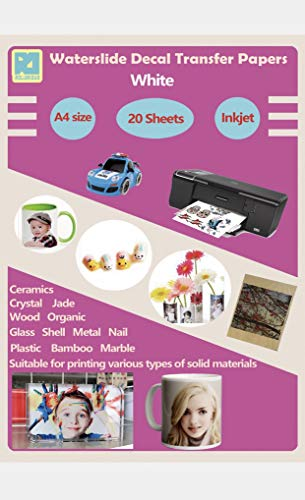 20 Sheets A4 Inkjet Water Slide Decal Paper Sheets White DIY for Inkjet Printer