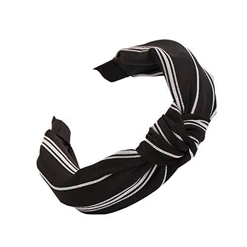Lonshell Damen Knoten Haarreif Retro Gestreifte Muster Haarband Stirnband Vintage Bow Knot Haarschmuck Kopfband Haarspange (Schwarz)