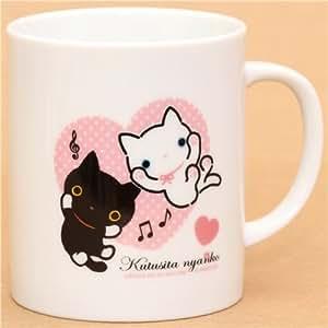 Tasse avec des chats Kutusita Nyanko et un coeur + serviette