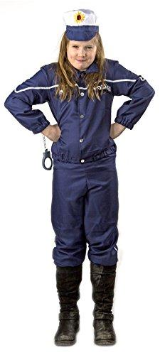 Kinder Polizei-Uniform Kostüm Größe 140 Karneval Fasching Set Hut Mütze Jacke Hose Blau Ausrüstung Verkleidung FBI SWAT (Kostüme Kind Marine Uniform)