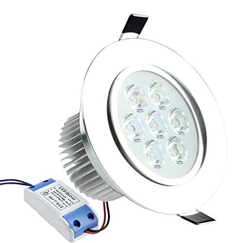 PMS® Set da 3 X 7W Faretti Incasso LED Luce a Risparmio Energetico Bianco Freddo / Bianco Caldo (Bianco Caldo)
