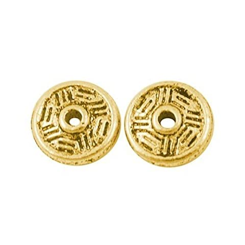 Packet of 50+ Antique Gold Tibetan 2 x 7mm Flat Round Spacer Beads - (HA15215) - Charming Beads