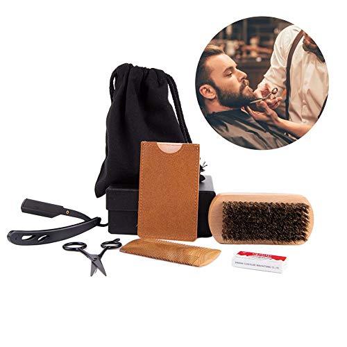 Bartpflegeset für Männer, Beard Grooming Kit & Care Set for Men, Doppelseitiger Bartkamm, Friseurschere & Bart-Schablone Bartpflege Geschenk-Set in stylischem Herren Kul